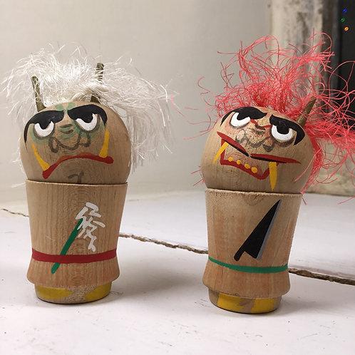 Pair of vintage weather god Kokeshi dolls