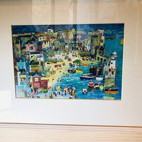 Framed 'Naive' St Ives Holiday Scene by Serena - 'Happy Lowry'