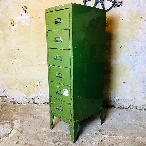 Retro mid 20thC industrial metal drawers x 6