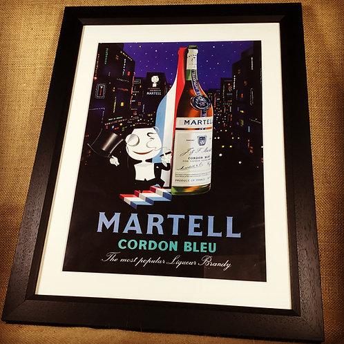 1957 Framed Martell Advertising Print
