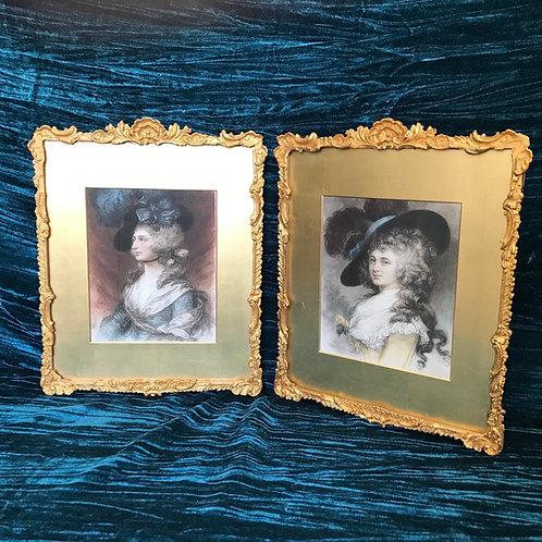 Pair of antique romantic gesso picture frames.