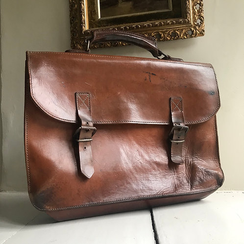Vintage Tan leather briefcase - Perfect for Costume Re-enactment.