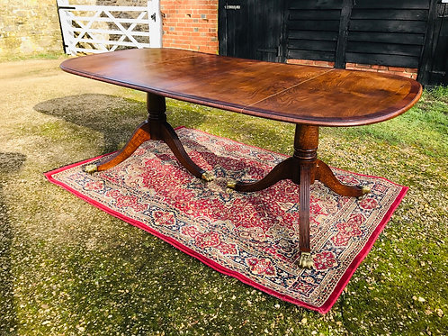Reproduction twin pedestal Demi end dining table in oak