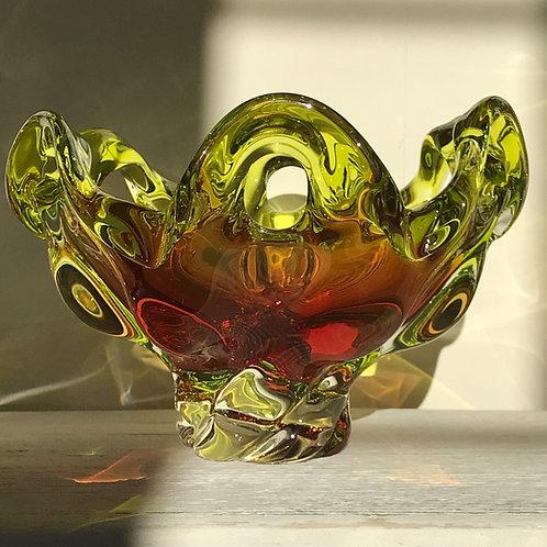Mid Century 'Mid Splash' Art Glass bowl by Josef Hospodka