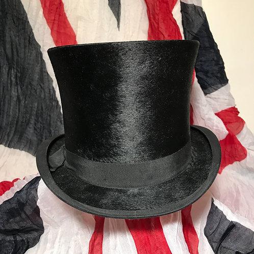 Antique Luxury Black Fur Felt Melusine Top Hat by Christys' London