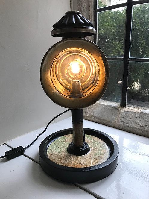 Genuine Late 19th C coach lamp desk lamp