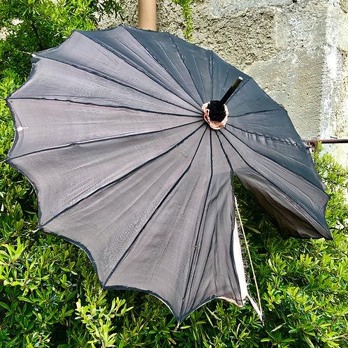 Antique ladies parasol in black / pink - requires seam repair