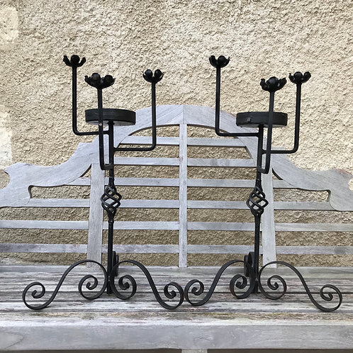 Pair of decorative wrought iron candle stands
