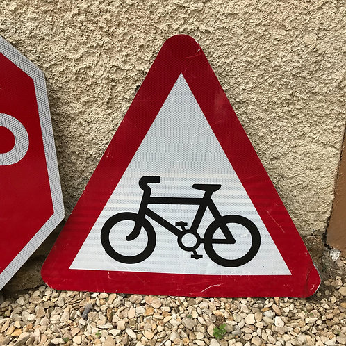 Reclaimed 'Cycle Route Ahead' Road Sign
