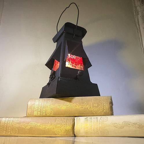 Repurposed vintage paraffin railway workers lamp