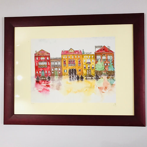 Venetian scene limited edition watercolour print by Monica Martin