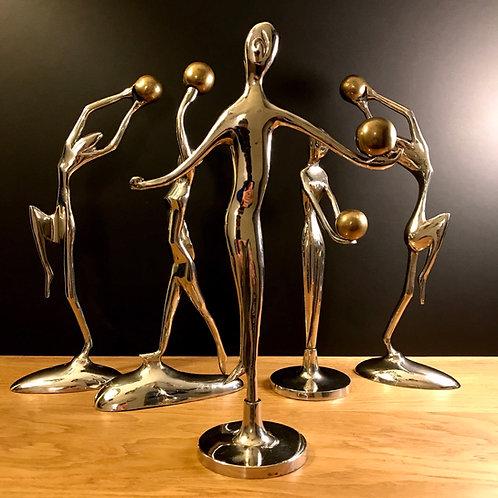 5 Art Deco Rythmic Gymnast figures in nickel chrome and brass.