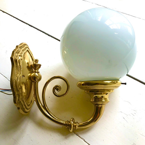 Cast Brass & Milk Glass Globe Art Nouveau wall light (sold individually).