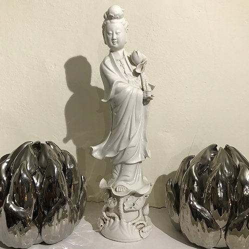 Vintage Chinese Blanc-de-Chine Quan Yin statue.