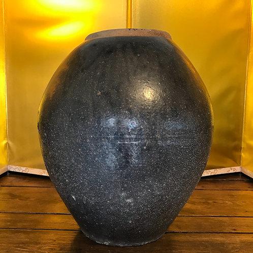 Large Antique Japanese brown glaze food storage jar