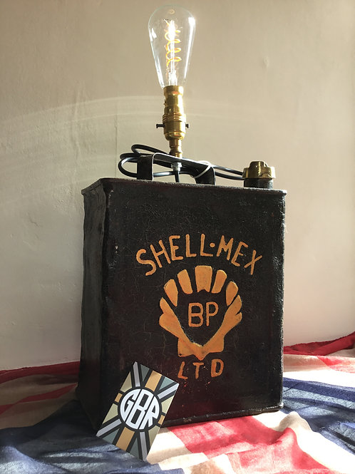 Vintage Shell Mex Petrol Can Lamp - Green Livery