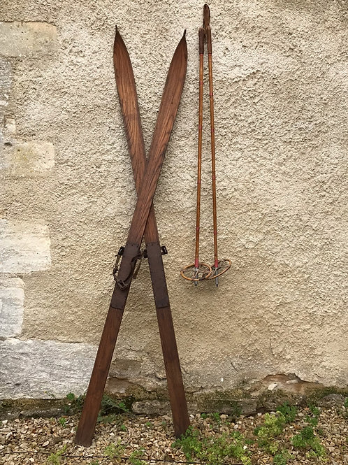 Antique wooden Skis and Ski Poles by LH Hagen & Co Christiania.