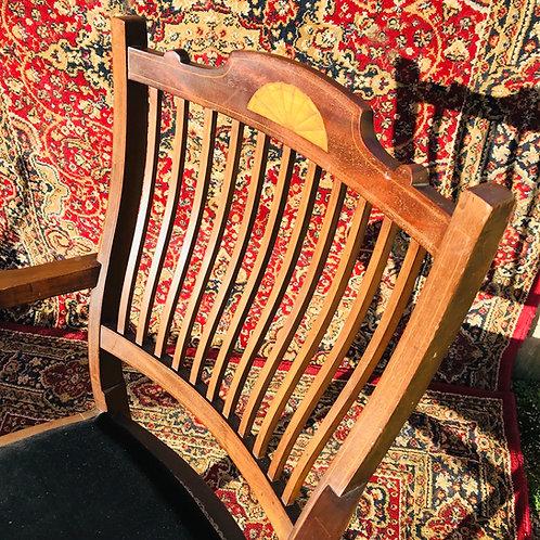 Edwardian mahogany in-laid desk armchair.