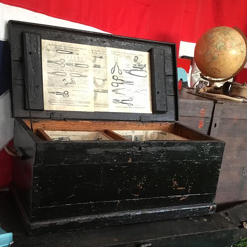Vintage tool box with unique decoupage interior detailing