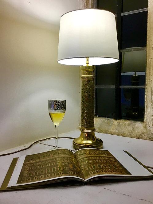 Mid Century Brass Column Lamp