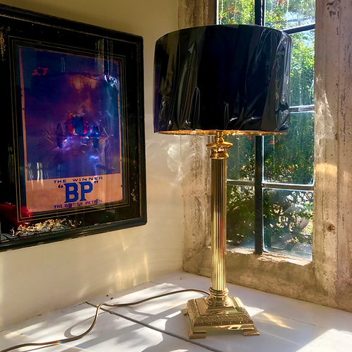 Vintage contract quality tall polished brass column lamp