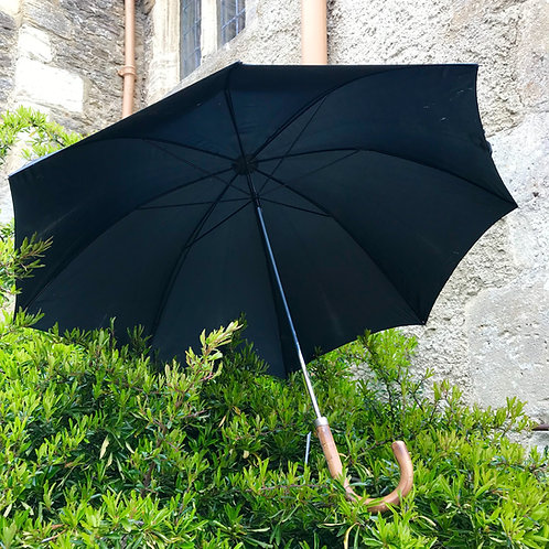Early vintage English black fabric umbrella with bent bamboo handle