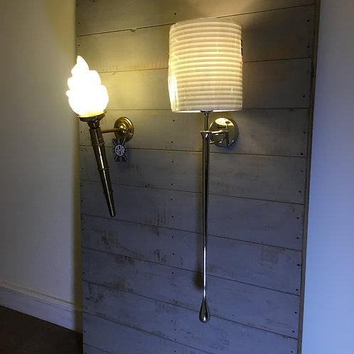 Polished Aluminium Long-Arm Teardrop Wall Light