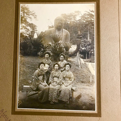 Early 20thC Japanese photographic print of 5 young ladies