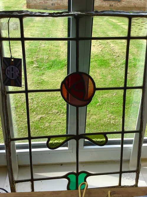 Art Nouveau Rose Stained Glass Panel