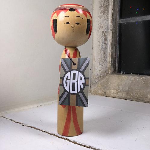 Traditional vintage Kokeshi with profiled torso - ref #3772