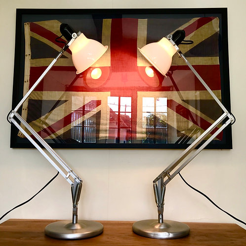 Pair of brushed aluminium Anglepoise 1228 Desk Lamps
