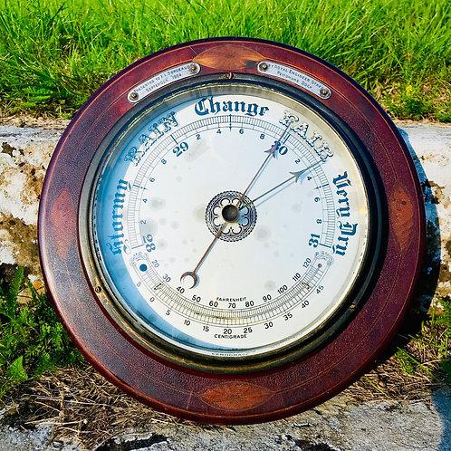 Edwardian large format circular barometer presented by Royal Pembroke Dock