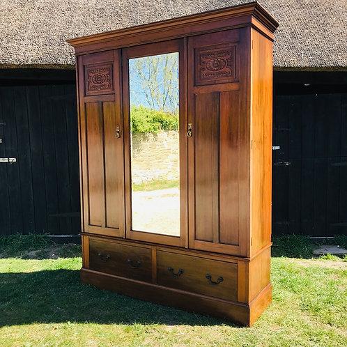 Late Victorian Three Door Walnut Stained Wardrobe