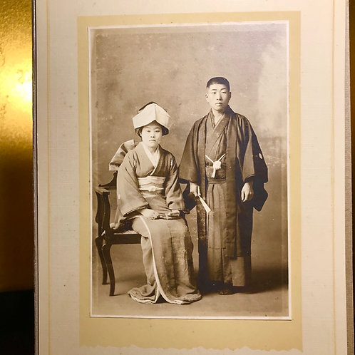 3 x Early 20thC Japanese photographic prints of wedding couple