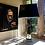 Thumbnail: Stylish tall mirror glass table lamp + box shade.
