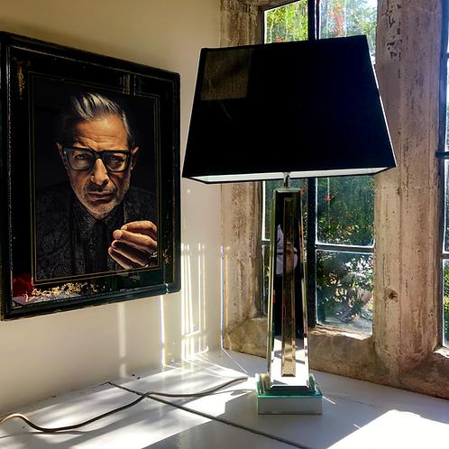 Stylish tall mirror glass table lamp + box shade.