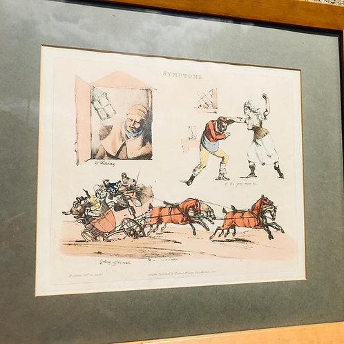 Framed antique engraved print by Henry Thomas Alken - Symptoms 13