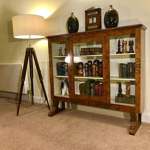 Beautiful Burr Walnut glazed bookcase / display cabinet.
