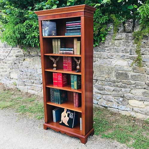 Yew wood full height 5 shelf bookcase.