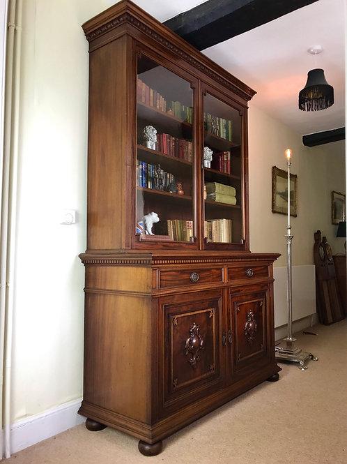 Victorian Wallnut Cabinet Bookcase