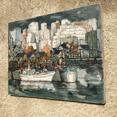 Oil on canvas original work - Harbour landscape by R Mizuno