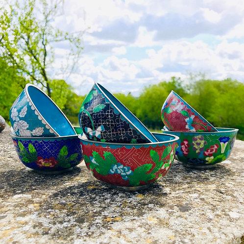 Vintage Chinese Cloisonne Enamel Bowl Set
