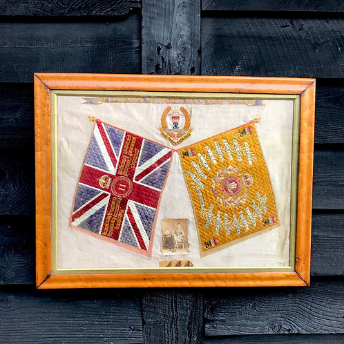 1920s Regimental Embroidered Silk Picture - The Middlesex Regiment