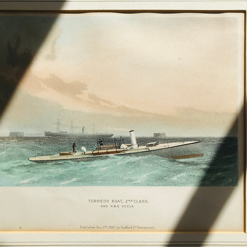 Torpedo Boat 2nd Class - Framed Coloured Lithograph 1880