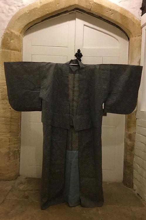Vintage green pattern cotton daywear Kimono