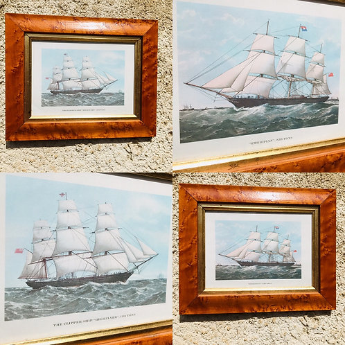 Pair of framed antique prints of Clipper Ships at sea