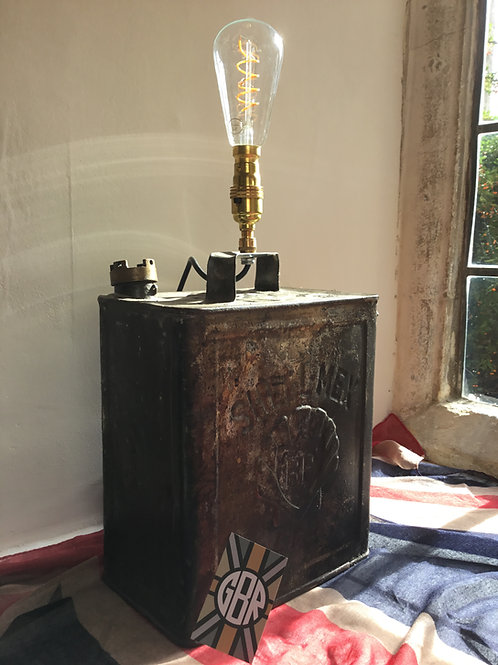 Vintage Shell Petrol Can Lamp - Mottled Brown Livery