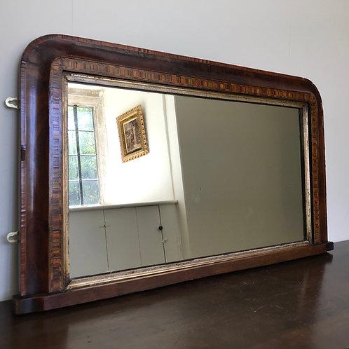 Victorian veneered overmantle / hall mirror