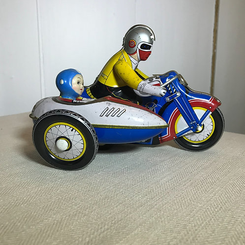 Vintage tin plate motorcycle & sidecar toy