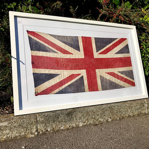 Framed 1940s printed cotton Union Flag - White Mount & Frame